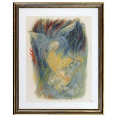 Reuven Rubin Visons of the Bible 'Moses' Modern Lithograph Framed