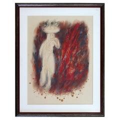 Reuven Rubin Visons of the Bible 'Woman' Modern Lithograph Framed