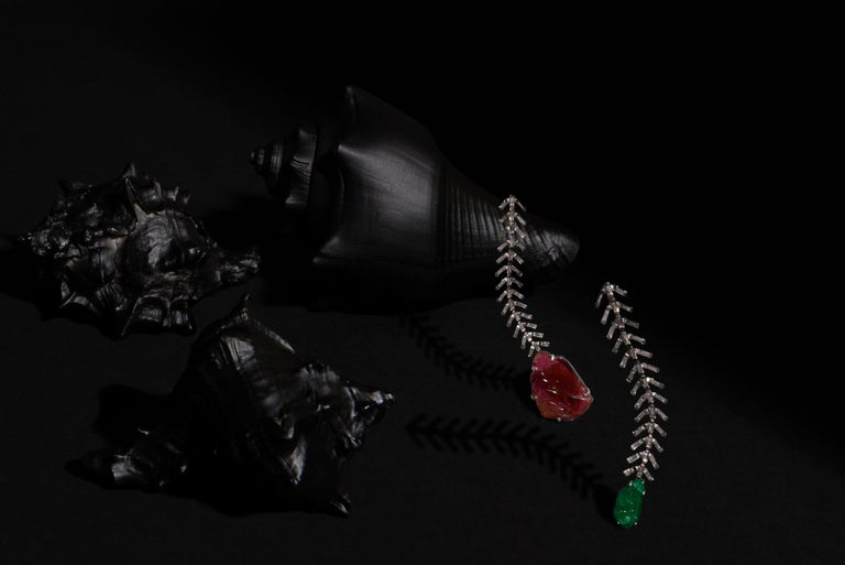Contemporary Reve Diamond and Carved Tourmaline Danglers For Sale