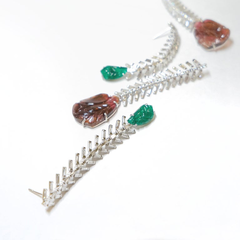 Baguette Cut Reve Diamond and Carved Tourmaline Danglers For Sale