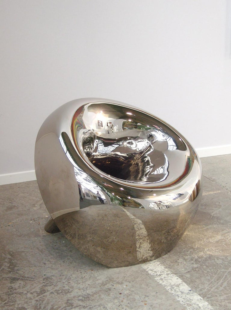 Reverb Chair, Sculptural Mirror-Polished Aluminium Lounge Chair by Brodie Neill 2