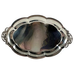 Revere Silversmiths Art Nouveau Sterling Silver Floral Handled Tray, circa 1930s