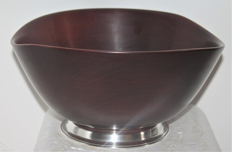 Country Revere Sterling Silver Mahogany Salad Bowl / Midcentury For Sale