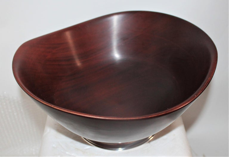 American Revere Sterling Silver Mahogany Salad Bowl / Midcentury For Sale