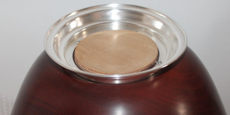 Hand-Crafted Revere Sterling Silver Mahogany Salad Bowl / Midcentury For Sale