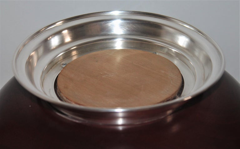 Revere Sterling Silver Mahogany Salad Bowl / Midcentury In Good Condition For Sale In Los Angeles, CA