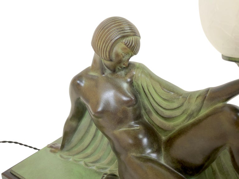 French Reverie Sculpture Lamp in Art Deco Style by Raymonde Guerbe for Max Le Verrier For Sale