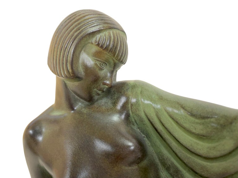Patinated Reverie Sculpture Lamp in Art Deco Style by Raymonde Guerbe for Max Le Verrier For Sale