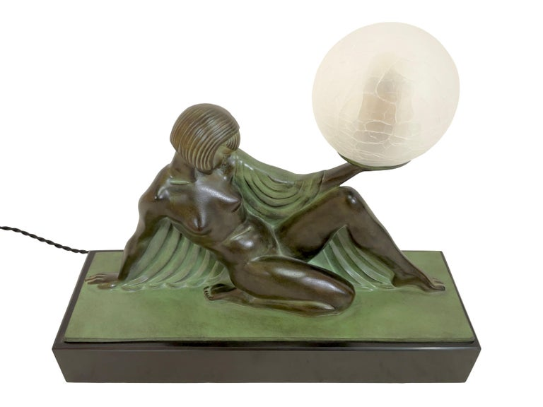 Reverie Sculpture Lamp in Art Deco Style by Raymonde Guerbe for Max Le Verrier In Excellent Condition For Sale In Baden-Baden, DE