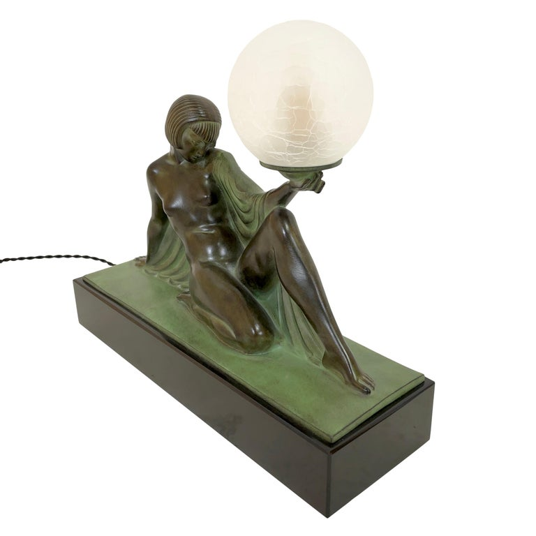 Contemporary Reverie Sculpture Lamp in Art Deco Style by Raymonde Guerbe for Max Le Verrier For Sale