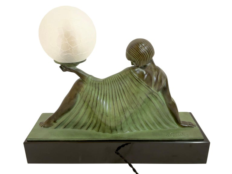 Reverie Sculpture Lamp in Art Deco Style by Raymonde Guerbe for Max Le Verrier For Sale 1