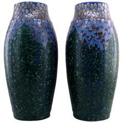 Revernay French Art Deco Pair of Ceramic Vases, Digoin Sarreguemines, circa 1925
