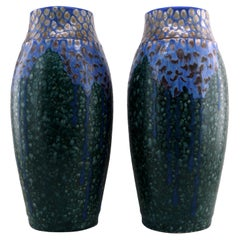 Revernay French Art Deco Pair of Ceramic Vases, Digoin Sarreguemines, circa 1925