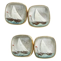 Reverse Crystal and Gold Yacht Cufflinks, Circa 1920
