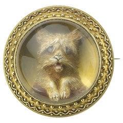 Reverse Crystal Dog Brooch