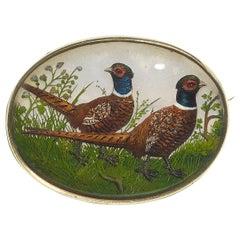 Reverse Crystal Pheasant Brooch