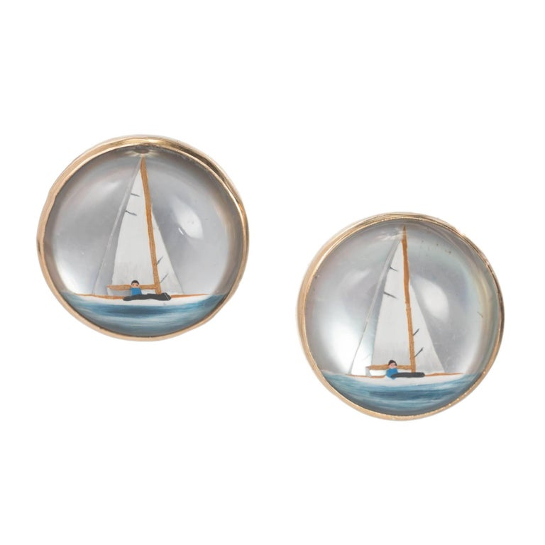 Reverse Hand-Painted Carved Quartz Gold Sailboat Pierced Stud Earrings