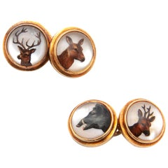 18 Karat Gold Animals Reverse Intaglio Crystal Cufflinks