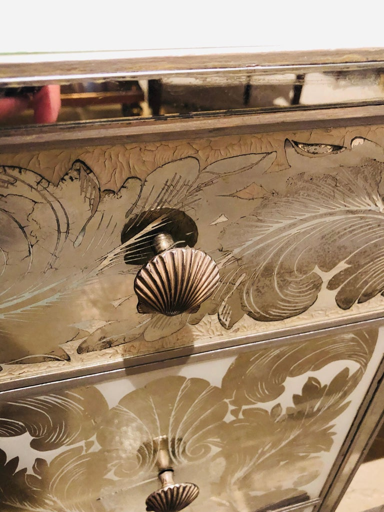 Reverse Paint Decorated Hollywood Regency Desk or Vanity Vintage Deco Style For Sale 7