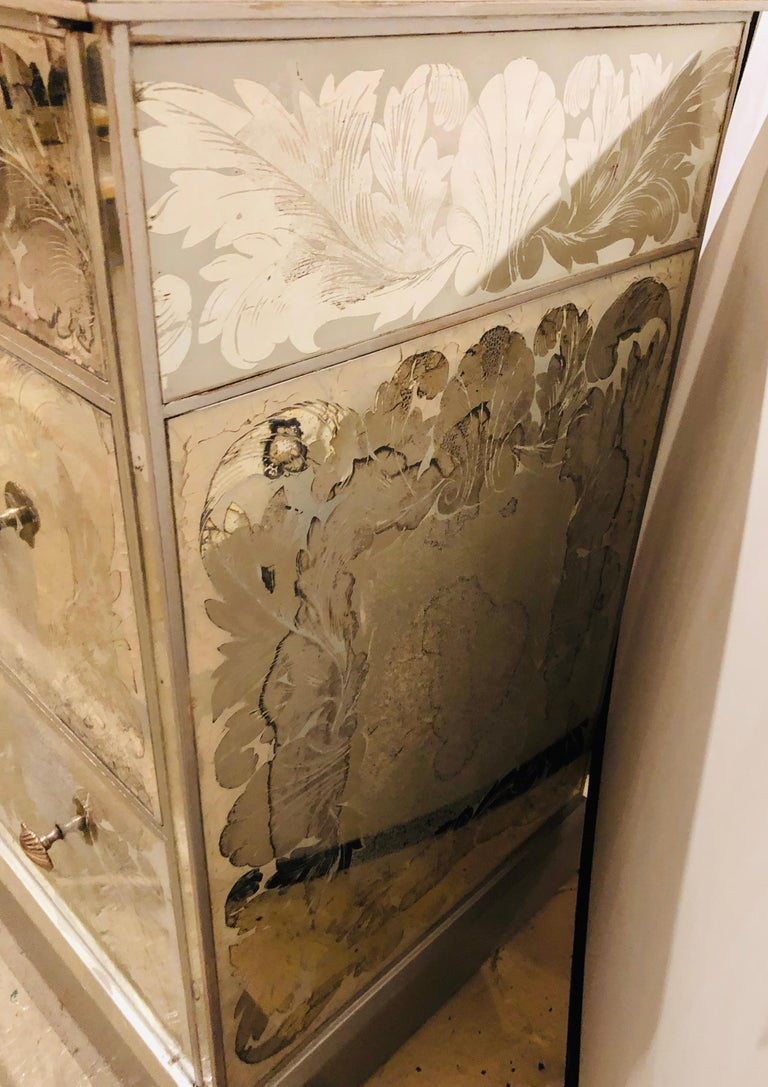 Reverse Paint Decorated Hollywood Regency Desk or Vanity Vintage Deco Style For Sale 9