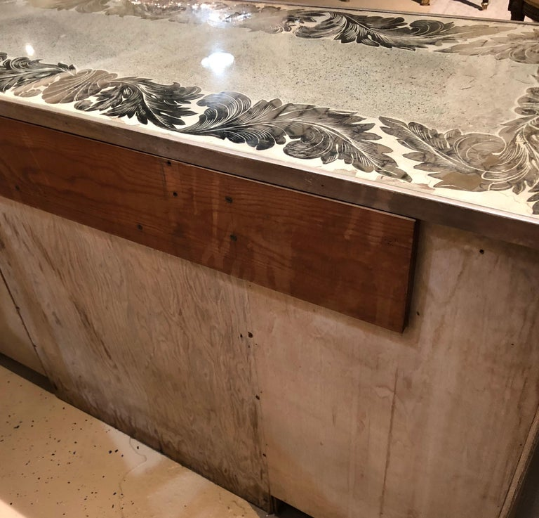 Reverse Paint Decorated Hollywood Regency Desk or Vanity Vintage Deco Style For Sale 13