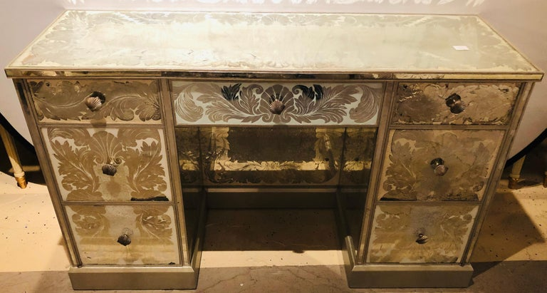 Art Deco Reverse Paint Decorated Hollywood Regency Desk or Vanity Vintage Deco Style For Sale
