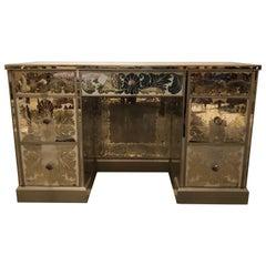 Reverse Paint Decorated Hollywood Regency Desk or Vanity Vintage Deco Style