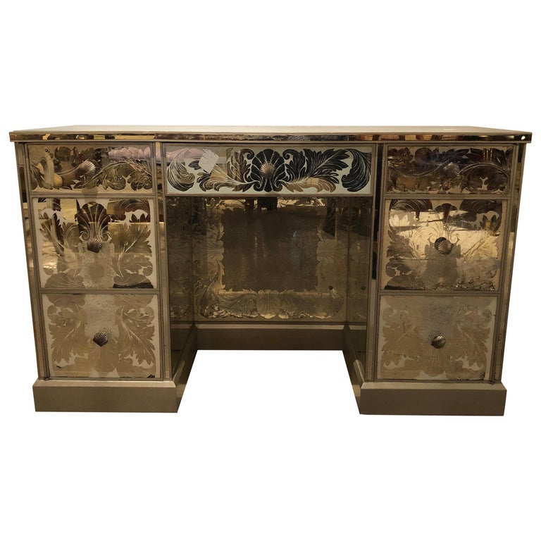 Reverse Paint Decorated Hollywood Regency Desk or Vanity Vintage Deco Style For Sale