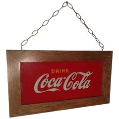 Reverse Painted Glass Drink Coca Cola Sign, circa 1920