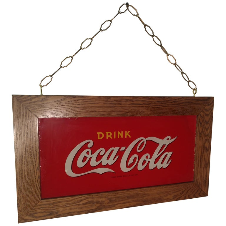 Reverse Painted Glass Drink Coca Cola Sign, circa 1920 For Sale