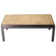 Reverse Painted Gold Glass Top Coffee Table, circa 1950