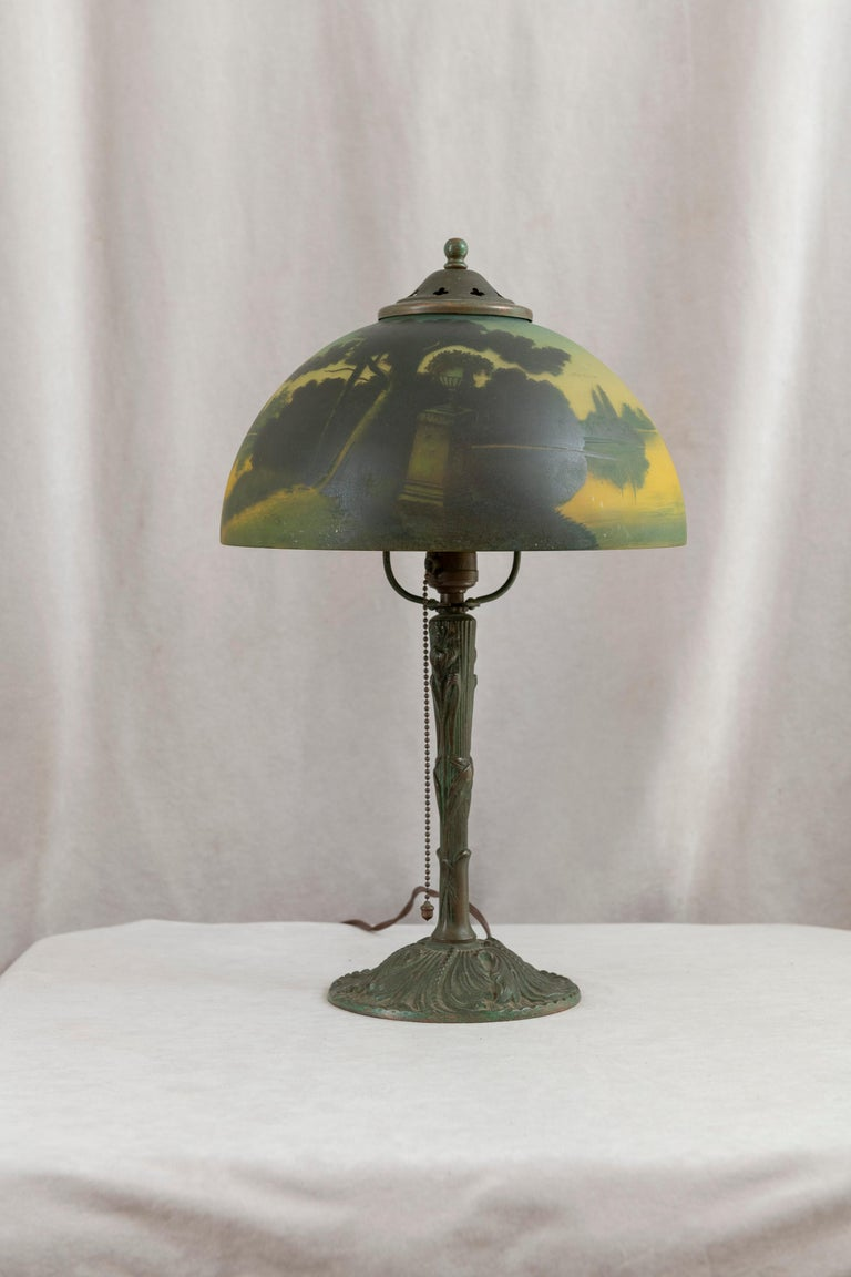 Arts and Crafts Reverse Painted Phoenix Table Lamp, Shade Signed, All Original, ca. 1920's For Sale