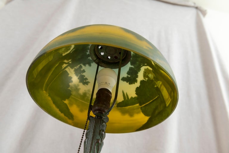 Early 20th Century Reverse Painted Phoenix Table Lamp, Shade Signed, All Original, ca. 1920's For Sale