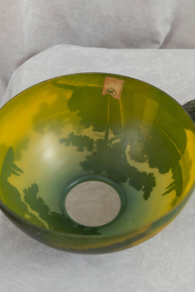 Glass Reverse Painted Phoenix Table Lamp, Shade Signed, All Original, ca. 1920's For Sale