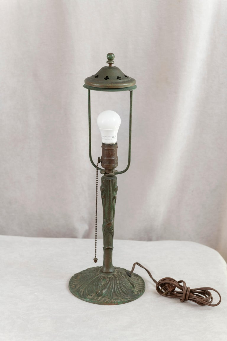 Reverse Painted Phoenix Table Lamp, Shade Signed, All Original, ca. 1920's For Sale 1