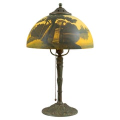 Reverse Painted Phoenix Table Lamp, Shade Signed, All Original, ca. 1920's