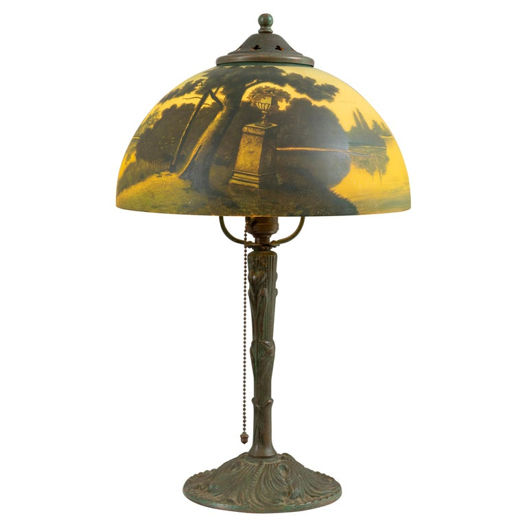 Reverse Painted Phoenix Table Lamp, Shade Signed, All Original, ca. 1920's For Sale