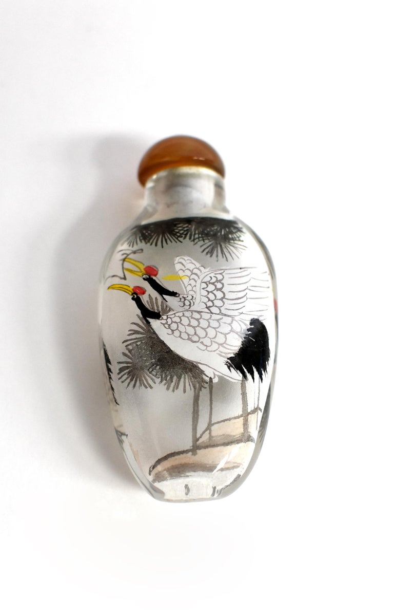 Chinese Reverse Painted Snuff Bottle with Crane For Sale