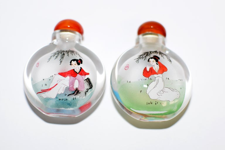 Reverse Painted Snuff Bottles Ancient Beauties For Sale 6