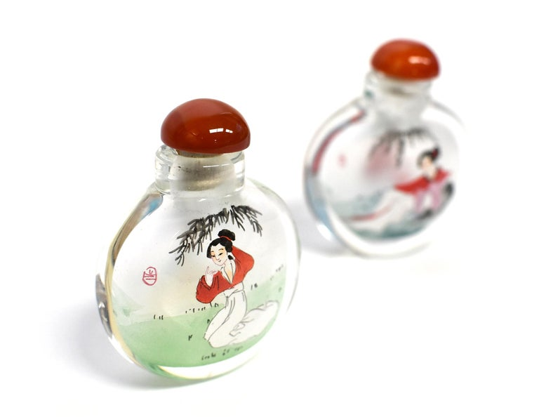 Contemporary Reverse Painted Snuff Bottles Ancient Beauties For Sale