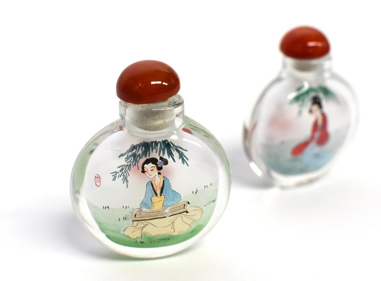 Agate Reverse Painted Snuff Bottles Ancient Beauties For Sale