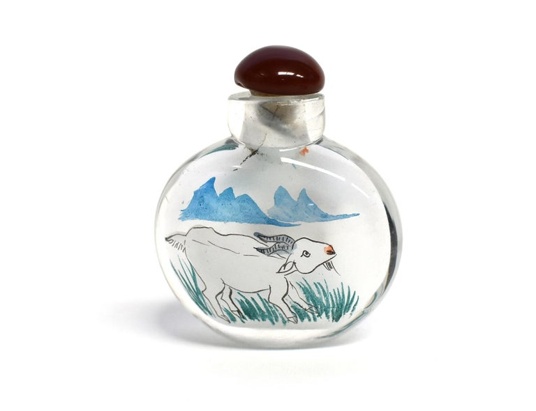 Reverse Painted Snuff Bottles Set of Four Zodiac Animals For Sale 5