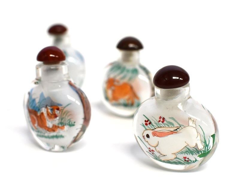 Chinese Reverse Painted Snuff Bottles Set of Four Zodiac Animals For Sale