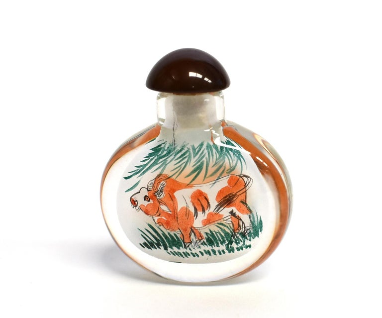 Contemporary Reverse Painted Snuff Bottles Set of Four Zodiac Animals For Sale