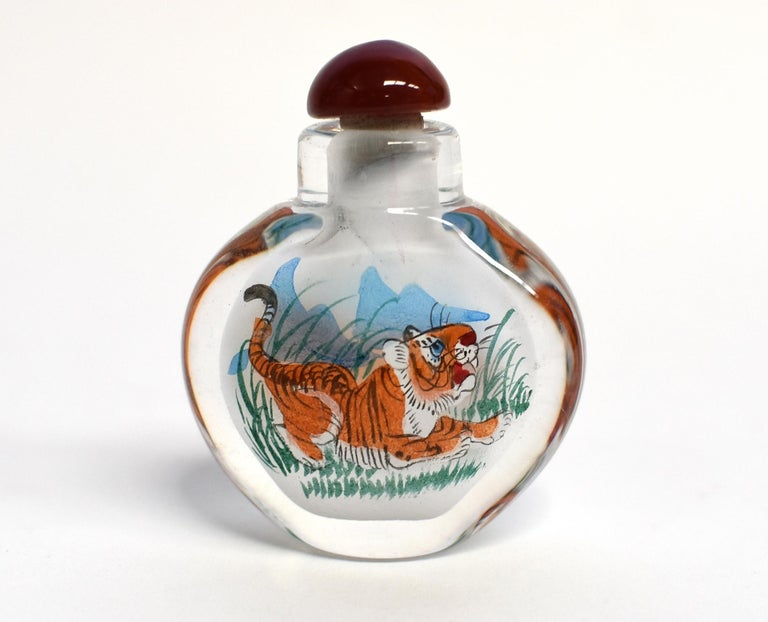 Agate Reverse Painted Snuff Bottles Set of Four Zodiac Animals For Sale