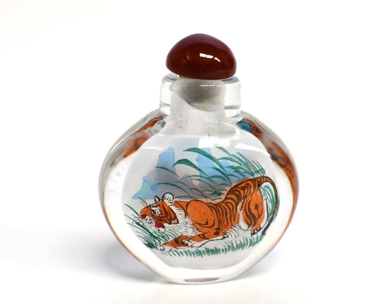 Reverse Painted Snuff Bottles Set of Four Zodiac Animals For Sale 1