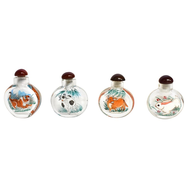 Reverse Painted Snuff Bottles Set of Four Zodiac Animals For Sale