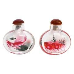 Reverse Painted Snuff Bottles with Fish