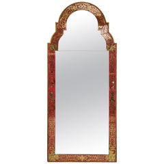 Reverse-Painted 'Verre Eglomise' Mirror in the Queen Anne Manner