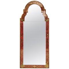 Reverse-Painted 'Verre Églomisé' Mirror in the Queen Anne Manner